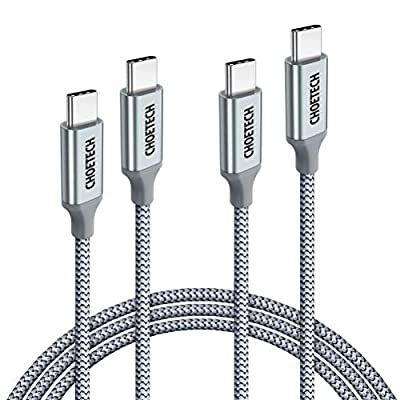 CHOETECH 1.8M 100W 20V/5A USB C to USB C Cable,Braided Power Delivery USB C Fast Charging Cable Compatible with MacBook Pro/Air,2018 iPad Pro,Samsung S20/S10/S9/Note 10,Huawei Mate30/P30Pro[2 Pack ]