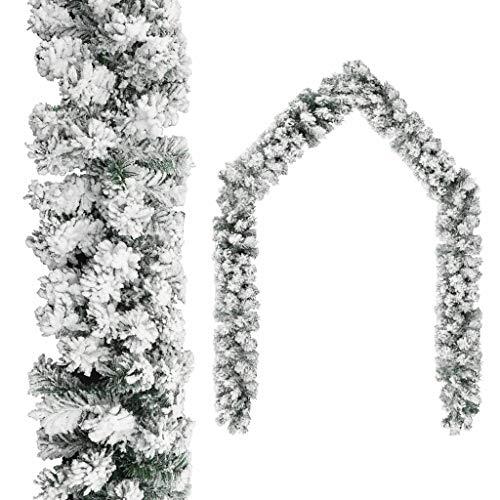 vidaXL Weihnachtsgirlande mit Schnee Künstliche Girlande Weihnachstdeko Tannengirlande Türgirlande Türbogen Weihnachten Grün 10m PVC