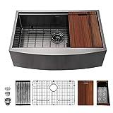 Black Stainless Steel Farmhouse Sink - Mocoloo 33 Inch Apron Front Ledge Workstation Gunmetal Black Kitchen Sink 16 Gauge Stainless Single Bowl Farm Style Kitchen Sink