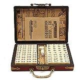 belupai 144pcs Portable Chinese Antique Mahjong Board Game Set Travel Entertainment Leisure Essentials