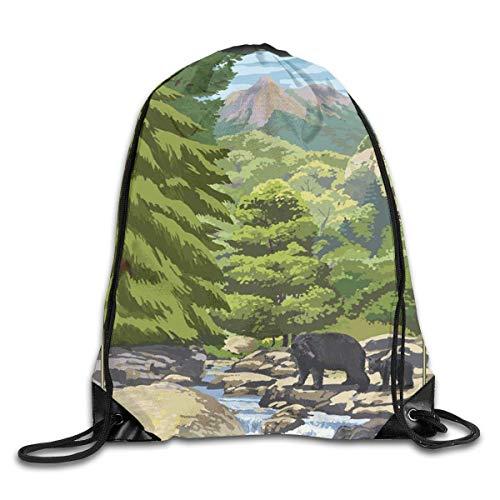 shenguang Great Smoky Mountains National Park Mochila Deportiva con cordón Gimnasio Saco de Yoga Saco de Cuerda Bolsa de Viaje Saco de Almacenamiento para Mujeres y Hombres Adecuado para la Es