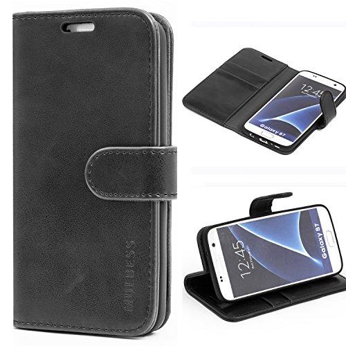 Mulbess Handyhülle für Samsung Galaxy S7 Hülle, Leder Flip Hülle Schutzhülle für Samsung Galaxy S7 Tasche, Schwarz