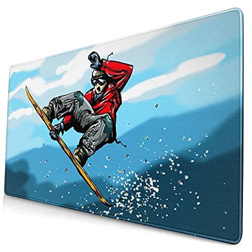 Custom Office Mauspad,Karikatur-Snowboard, das im hohen Berg springt,Anti-Rutsch-Gummiunterseite Gaming-Mauspad-Matte Schreibtisch-Dekor 15,8