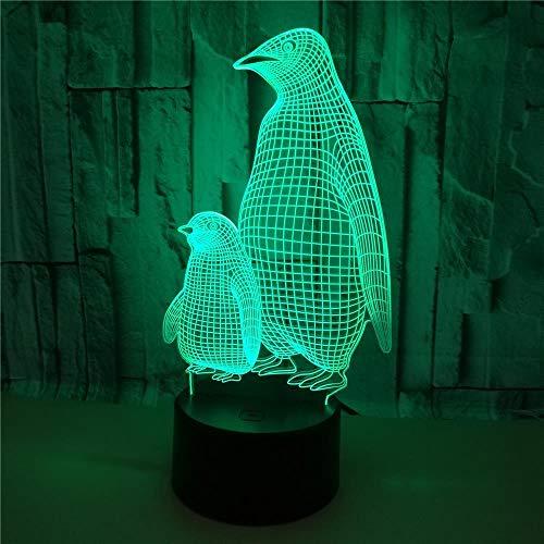 FREEZG 3D lámpara de ilusión LED Pingüino animal dibujos animados Lámpara de ilusión y 7 colores Lámpara de decoración Cambio - Regalo perfectos para niño