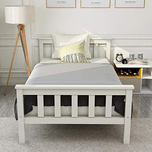 Joycelzen Cama individual de 90 x 190 cm, de madera de pino maciza, cabecero y marco de cama para niños, adolescentes y adultos, color blanco
