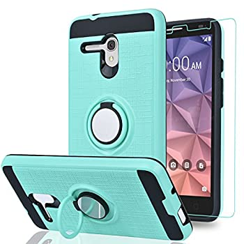 Alcatel OneTouch Fierce XL/Pop 3 5.5 / Flint/Pixi Glory 4G LTE Case with HD Phone Screen Protector,Ymhxcy 360 Degree Rotating Ring & Bracket Dual Layer Resistant Back Cover for 5054-ZH Mint