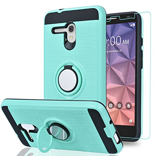 """Alcatel OneTouch Fierce XL/Pop 3 5.5""""/ Flint/Pixi Glory 4G LTE Case with HD Phone Screen Protector,Ymhxcy 360 Degree Rotating Ring & Bracket Dual Layer Resistant Back Cover for 5054-ZH Mint"""