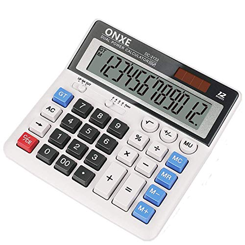 Calculator,ONXE Standard Function Desktop Calculators with Large 12 Digit LCD Display and Big Button, Solar and Battery Dual Power, Financial Accounting Calculator for Office,Desk, Home, School(2133)
