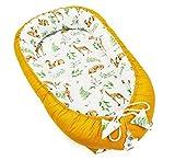 PIMKO Babynest Babynestchen für Baby Kuschelnest 2-seitig Babykokon für Säuglinge und Neugeborene Babynestchen 100% Baumwolle Babykissen geeignet für Zuhause oder als Reisebett 55 x 90 cm (Honey)