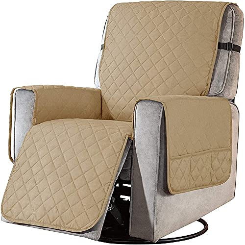 BXFUL Sesselschoner Relaxsessel Sesselauflage Relax,Sofaüberwurf 1 Sitzer Sesselschutz für Hunde Gesteppter Möbel-Schutz für Ledersofa (S,Khaki)