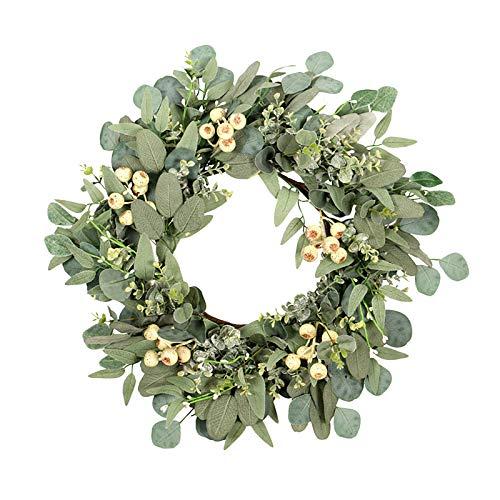 Moent Corona del día de San Patricio, irlandés simulación de vacaciones de eucalipto, hojas de ginkgo, hogar, sala de estar, ventana, decoración de fiesta (D, 40 cm)