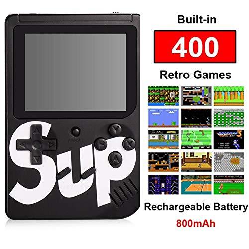 ZRSZ Console di Gioco Portatile, Console di Gioco 3 Pollici Gameboy Retro 400 Console di Gioco Super Mary Supporto TV Player for Kids Regalo (Nero)