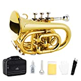 EastRock Pocket Trumpet Brass Bb Gold Lacquer Mini Trumpet with 7 C Mouthpiece, Hard Case, Strap, White Gloves, Cleaning Kit for Students, Beginners