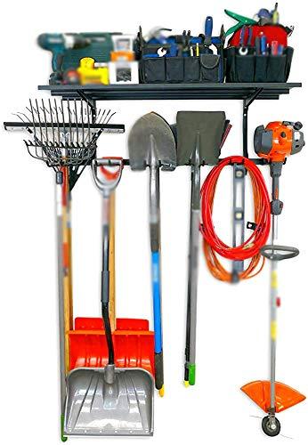 Rack de memoria, dedo de casa y garaje, equipo de almacenamiento de herramientas, alto marco, sistema de pared ajustable,Black-119.4 x 20.1 x 4.6 cm