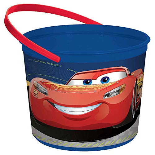 """amscan 261763 Disney Cars 3"""" Blue Plastic Container,One Size, Multicolor"""