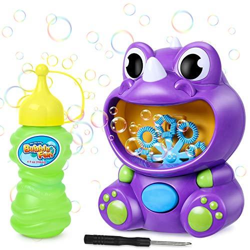 joylink Machine à Bulles Enfants, Dinosaure Mignon Soufflante à Bulles Automatique Bubble Machine avec Bouteilles Liquide, 500 Bulles par Minute Jouet à Bulles pour Intérieur&Extérieur