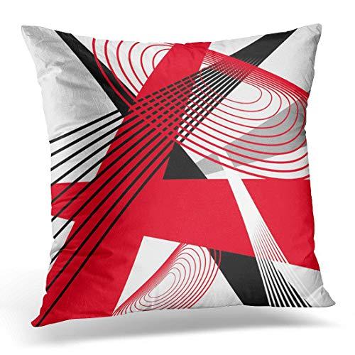 Jhonangel Throw Pillow Cover Negro Blanco en Moderno Abstracto Rojo Ondulado Decorativo Funda de Almohada decoración del hogar Funda de Almohada Cuadrada 18x18 Pulgadas
