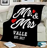 Personalized Mr & Mrs Fleece/Sherpa/Woven Blanket Married Couple Blankets Husband Gifts Wife Gifts Wedding Anniversary Blankets Wedding Anniversary Valentine's Day Gifts for Couples Gifts