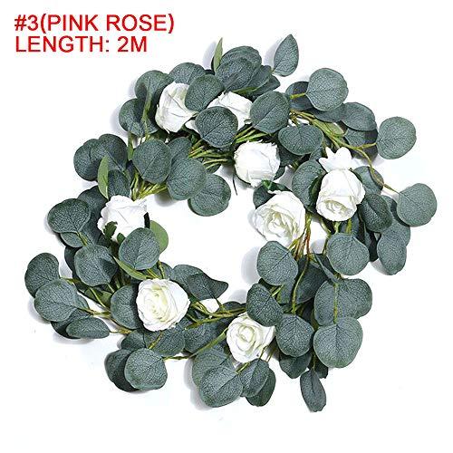 Chnrong - Guirnalda artificial de eucalipto de seda sintética con rosas y flores artificiales