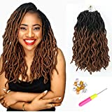 Short Gypsy Locs Crochet Faux Locs 12 Inch 8 Packs/Lot Ombre Brown Goddess Wavy Faux Locs crochet hair natural looking and Pre-Looped Kanekalon Synthetic Crochet Braids Dreadlocks Hair Extensions (12inch,T1B/30)