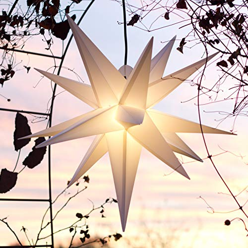 Mit LED Außenstern 65 cm weiß beleuchteter Stern, Wetter- und frostbeständig, Weihnachtsstern Faltstern (Weiss)