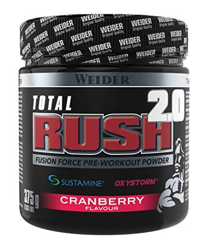 Weider Total Rush 2.0 Sabor Arándano, Fórmula con 6g de Citrulina, Creatina, Arginina, Sustamine, Oxystorm, Beta-Alanina, extra de cafeína, Baja en carbohidratos (375 g)