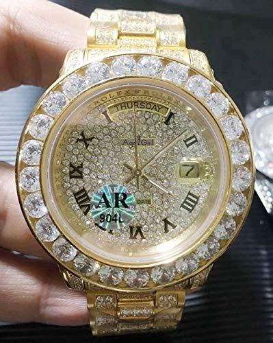 HNOLVH New Men Silber Gold Daydate Diamond Armband Automatische mechanische Edelstahl Saphir Uhr 44mm Gold