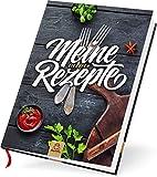 Großes A4 Rezeptbuch zum Selberschreiben für 100 Lieblingsrezepte, Premium Hardcover, hochwertige Fadenbindung, blanko DIY Backbuch, Kochbuch selbst schreiben (Schiefergrau)