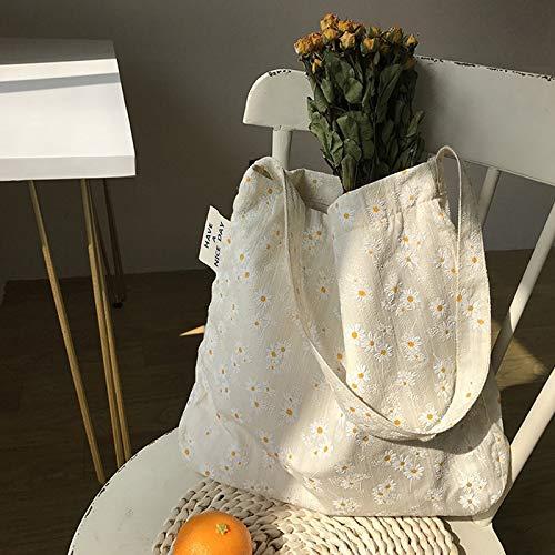 Neaer Bolso de lona para mujer con diseño de margaritas en relieve, bolso de mano para mujer, bolso de mano casual, bolsa de la compra para libros literarios (color: una sola correa margarita)