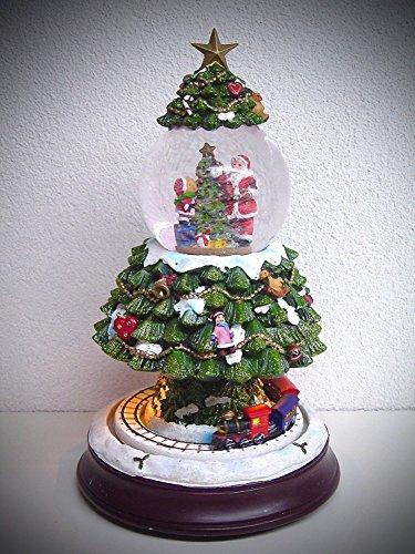 Unbekannt Schneekugel Weihnachtsbaum mit Musik LED Beleuchtung fahrendem Zug