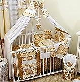 Bello - Juego de cama para bebé de 16 piezas, algodón (para cama de 60 x 120 cm, 21 oso de peluche que hacen abrazares), color beige