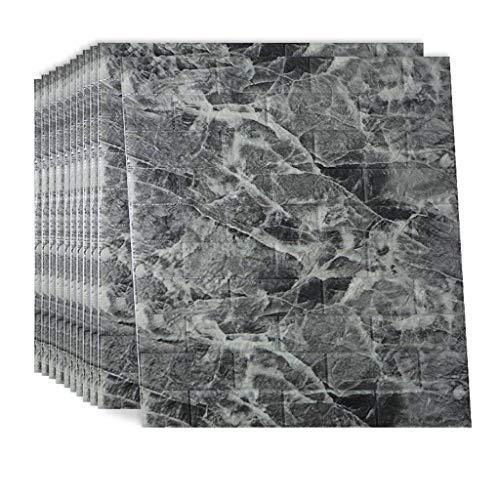 3D Autoadhesivo Papel Tapiz, Impermeable Espuma Artificial Patrón De Ladrillo Pegatinas De Pared Para Dormitorio Salón Cocina Decoración De Pared-10 Piezas-Piedra gris-70x77cm(28x30inch)