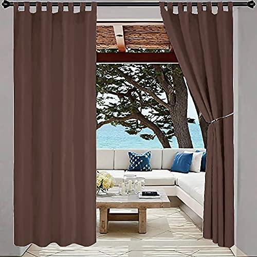 Cortinas impermeables para ventana, cortinas de oscurecimiento de la habitación, para sala de estar, balcón, patio, porche, puerta, pérgola, cabana, cenador, toldo para exteriores, 132 x 160 cm
