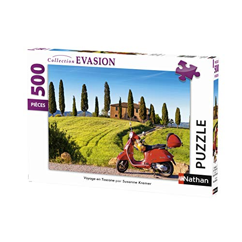 Nathan 500pezzi viaggio, casse Tete, Puzzle adulto, Toscana, Italia, Paesaggio, Vespa, Moto, 4005556872206, néant