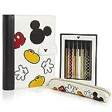 Disney Mickey Mouse Set Papeleria, Incluye Estuche Escolar Cuaderno A5 y Set de Boligrafos Bonitos, Material Escolar o de Oficina, Regalos Originales Para Mujer Niñas Adolescentes