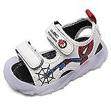GJzhuan Niños LED Sandalias Chicos Spiderman Slipper Fashion Light Up Shoes Slides Slides Verano Mulas Al Aire Libre Abrir Punta Polel Zuecos Slight Calzado Cuarto De Baño Flop
