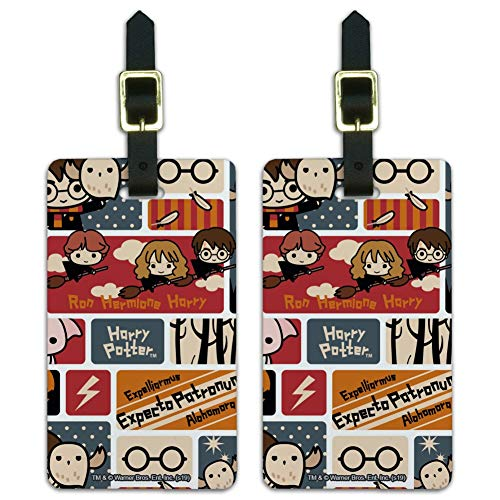 Harry Potter Cute Chibi Pattern Luggage ID Tags Carry-On Cards - Set of 2