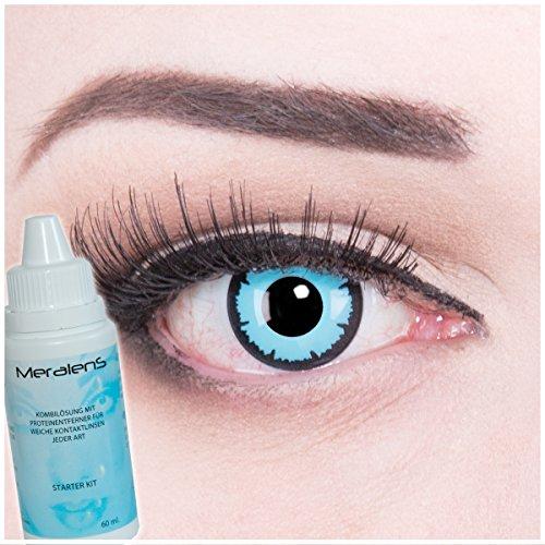 Meralens Sky Demon Kontaktlinsen mit Pflegemittel mit Behälter ohne Stärke. Perfekt zu Halloween, Fasching und Karneval Kostüm