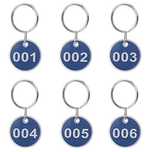 Aspire 50Pcs Schlüsselanhänger Schlüssel Tags mit Metallring Nummer 1-50 Blau