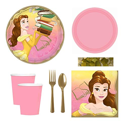 Beauty and The Beast Party Supplies and Decorations Pack for 16: Belle Birthday Party Supplies for Girls Includes Princess Belle Party Plates, Napkins, Dessert Plates, Cups, Utensils, and Confetti