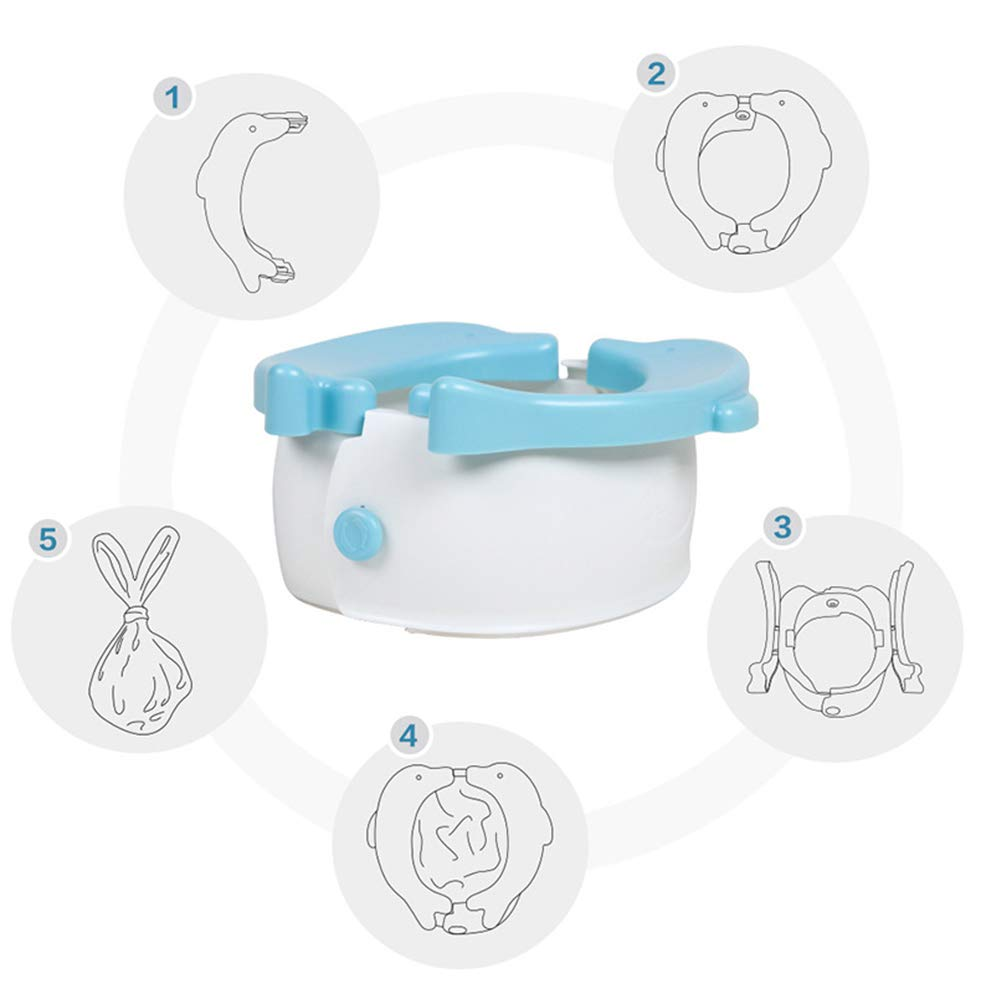 Jitejoe Travel Potty - Potette Folding Reusable Trainer Seat,Travel Toilet Potty Training Seat for Toddlers,Cute Dolphin Cleaning Children's Car Portable Toilet with 20 Potty Liners Disposable (Blue)