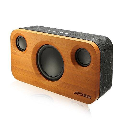 Archeer 25W Bluetooth altavoces (A320) con Super Bass, madera de bambú casa...