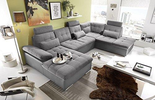 moebel-guenstig24.de Couch Jakarta Wohnlandschaft Sofa Lederlook Schlaffunktion Schlafsofa dunkelgrau grau hell Gemustert Ottomane rechts 324 cm