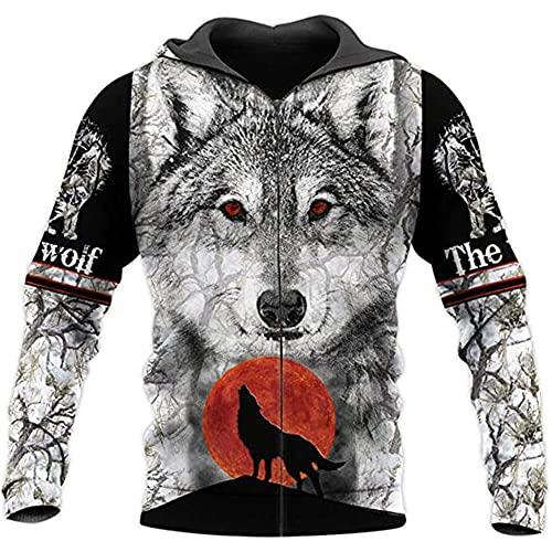 La Camisa del Lobo para Hombre 3D Estampado Animal Streetwear Pullover Otoño Sudadera Unisex Casual Chaqueta Joven,Zip Hoodie,4XL