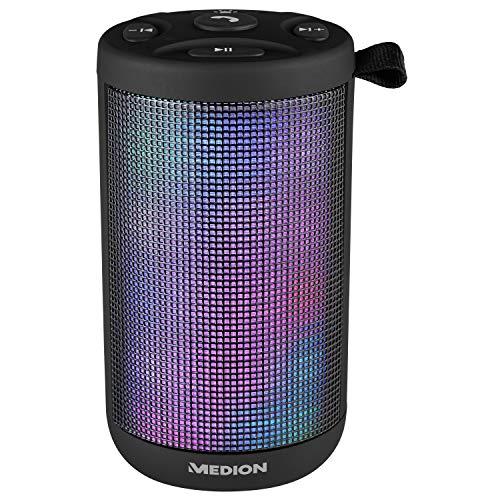 MEDION E61102 Bluetooth Lautsprecher (7 Verschiedene Lichtmodi, 20 LEDs, Lichtshow, Micro USB Ladeanschluss, Powerbank, Freisprechfunktion, 20 Watt, AUX)