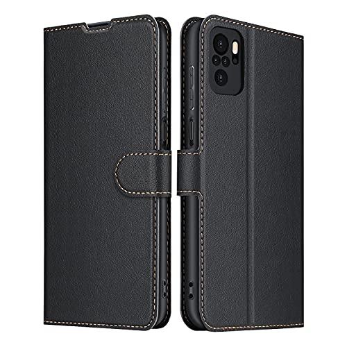 ELESNOW Hülle für Redmi Note 10 4G / Note 10S, Premium Leder Klappbar Schutzhülle Tasche Handyhülle mit [ Magnetisch, Kartenfach, Standfunktion ] für Xiaomi Redmi Note 10 4G Note 10S (Schwarz)