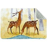 エリアラグ軽量 漫画の秋の鹿の飲料水 フロアマットソフトカーペットチホームリビングダイニングルームベッドルーム