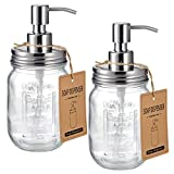 Mason Jar Soap Dispensers -Rustproof Stainless Steel Lid &Pump, Refillable Wash Hand Soap ...