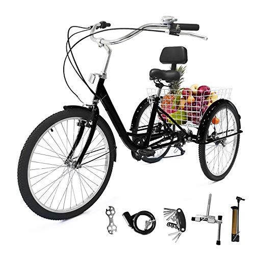 EOSAGA Adult Tricycle 7 Speed 24/26 Inch Trike Cruiser Bike Three-Wheeled BicycleBrake System and Basket Cruiser Bicycles Size for Shopping,Recreation with Large Basket, Lock, Bike Pump, Multi-Funct