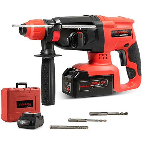 Goplus 1 Inch SDS Plus Cordless Rotary Hammer Drill, 20V 3 Functions Variable Speed Demolition Hammer Kits w/ 4.0Ah Battery & Charger, Adjustable Handle, Drill Bits